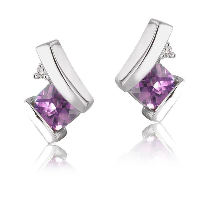 Amethyst & Diamond Earrings in 10k Gold