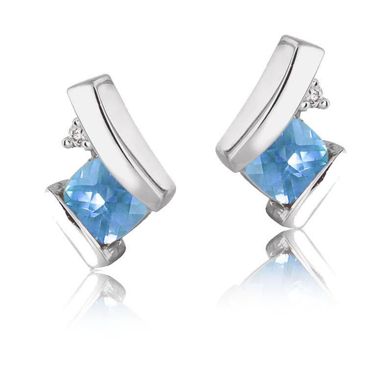 Blue Topaz & Diamond Drop Earrings 10k White Gold