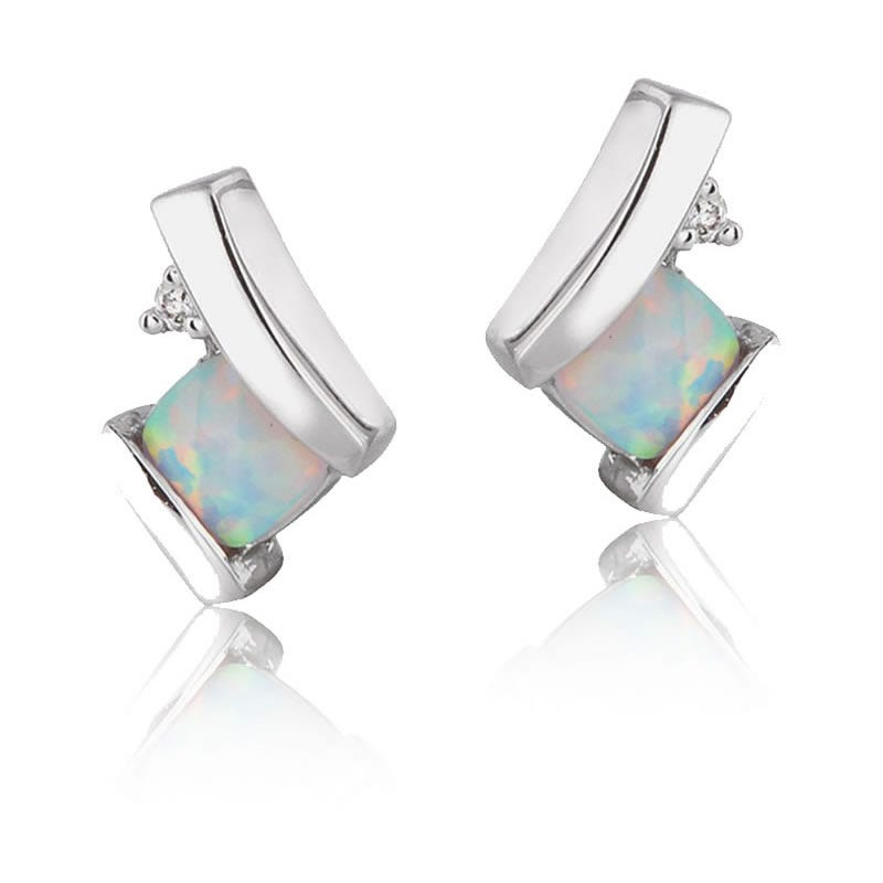 Created Opal & Diamond Drop Earrings in 10k White Gold