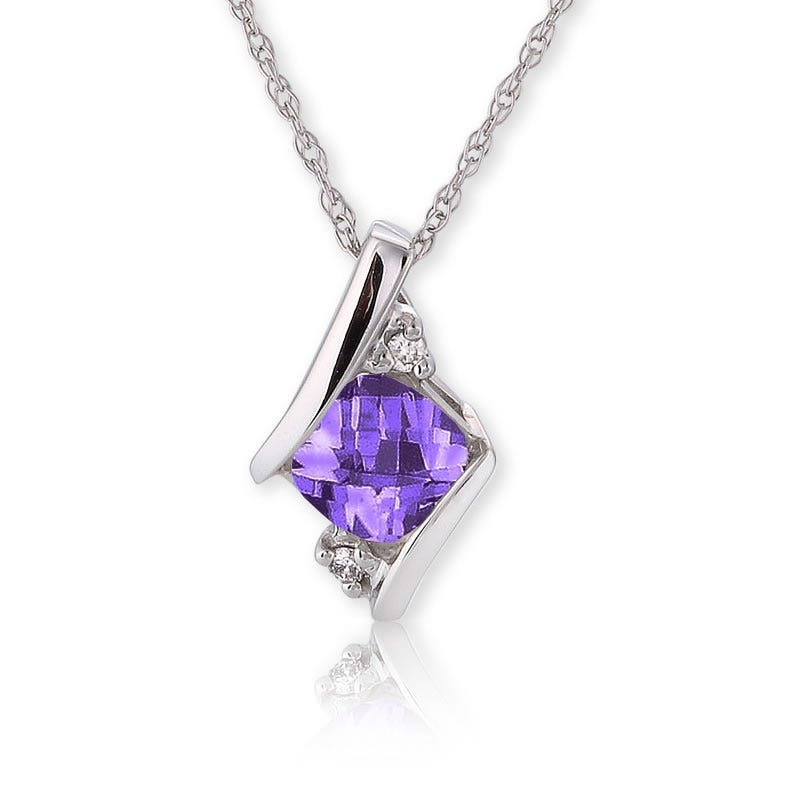 Amethyst & Diamond Pendant 10k White Gold