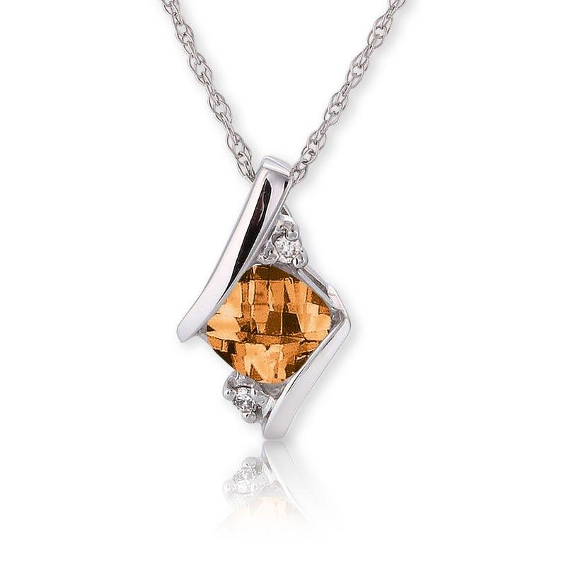Citrine & Diamond Pendant 10k White Gold