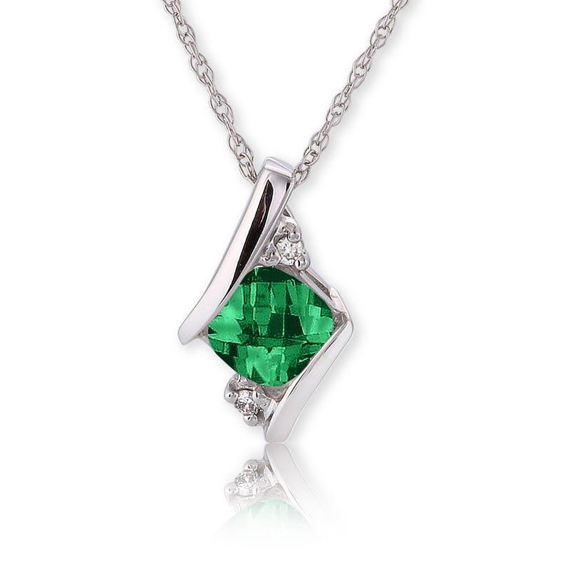 Created Emerald & Diamond Pendant 10k White Gold