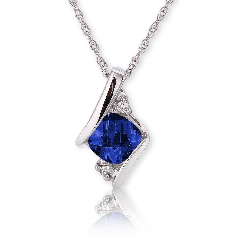 Created Sapphire & Diamond Pendant 10k White Gold