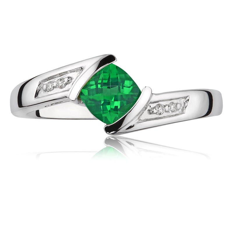 Created Green Emerald Gemstone & Diamond Ring