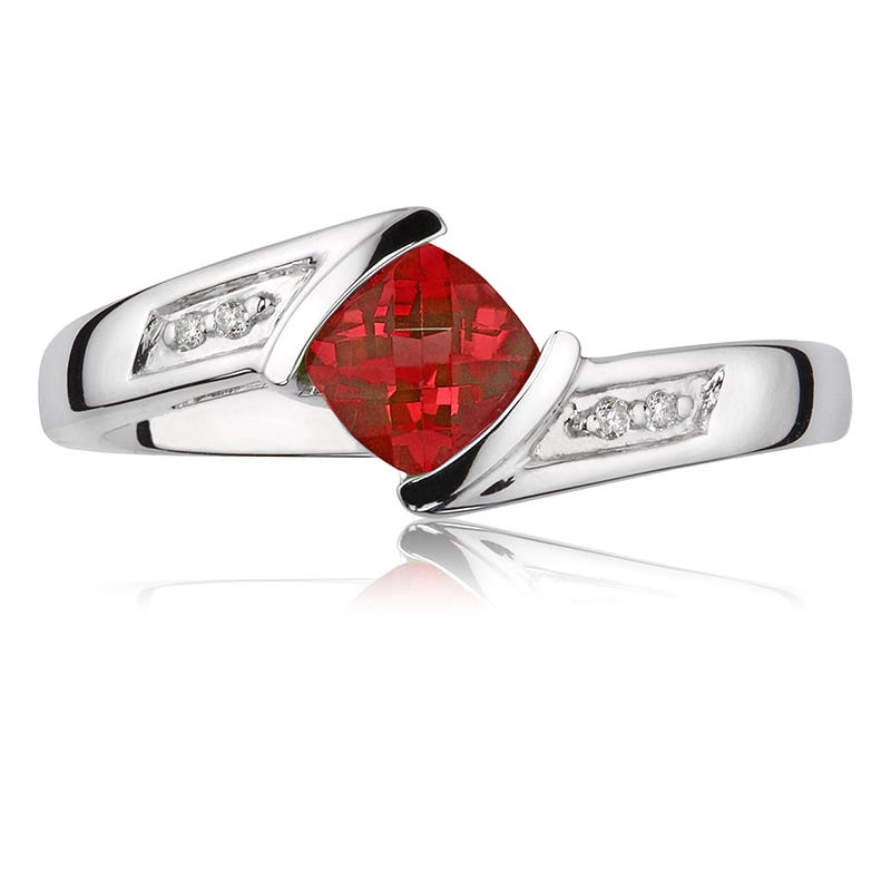 Created Red Ruby Gemstone & Diamond Ring 10K White Gold