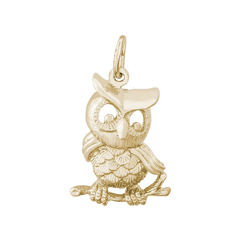Owl 14K Yellow Gold Charm