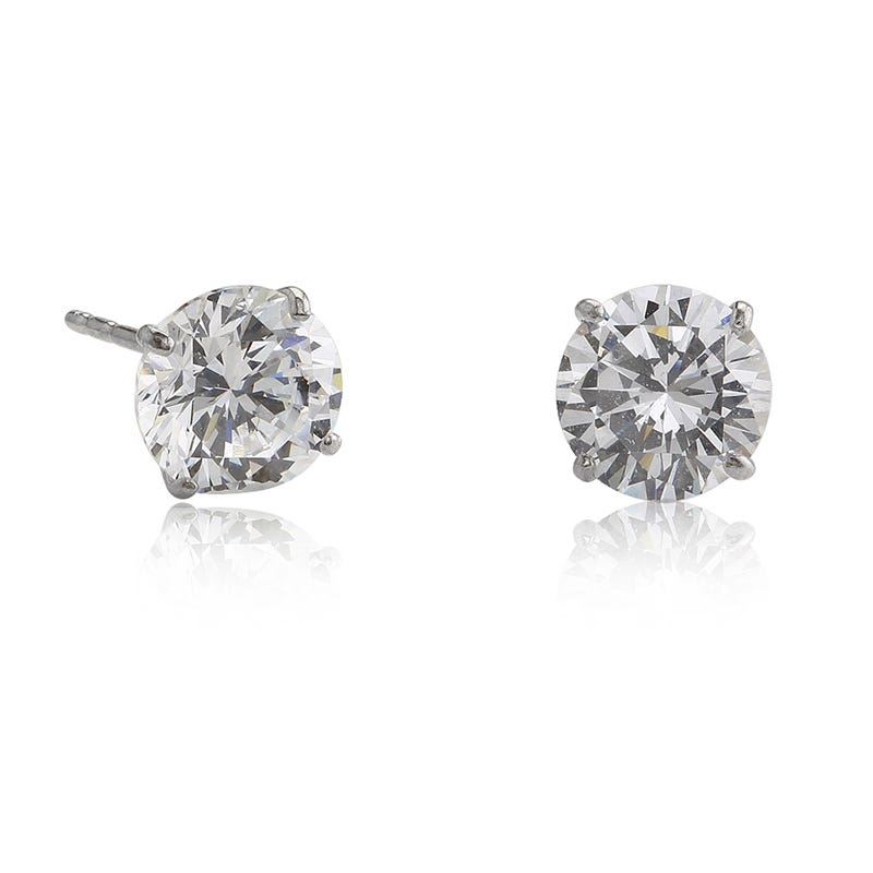 4mm Cubic Zirconia Stud Earrings in 14k White Gold