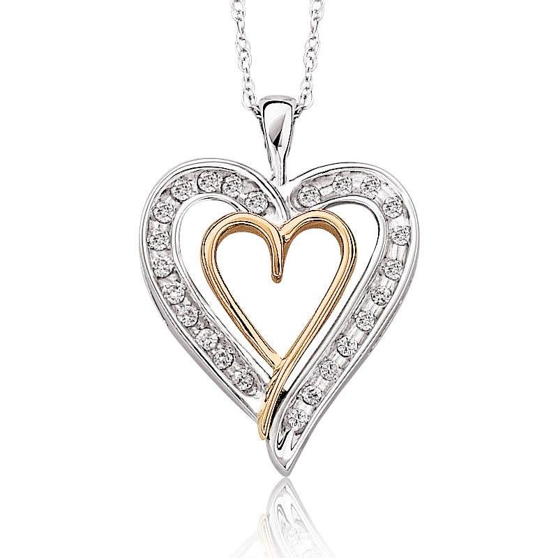 Double Heart Diamond Pendant 1/10ct. T.W.