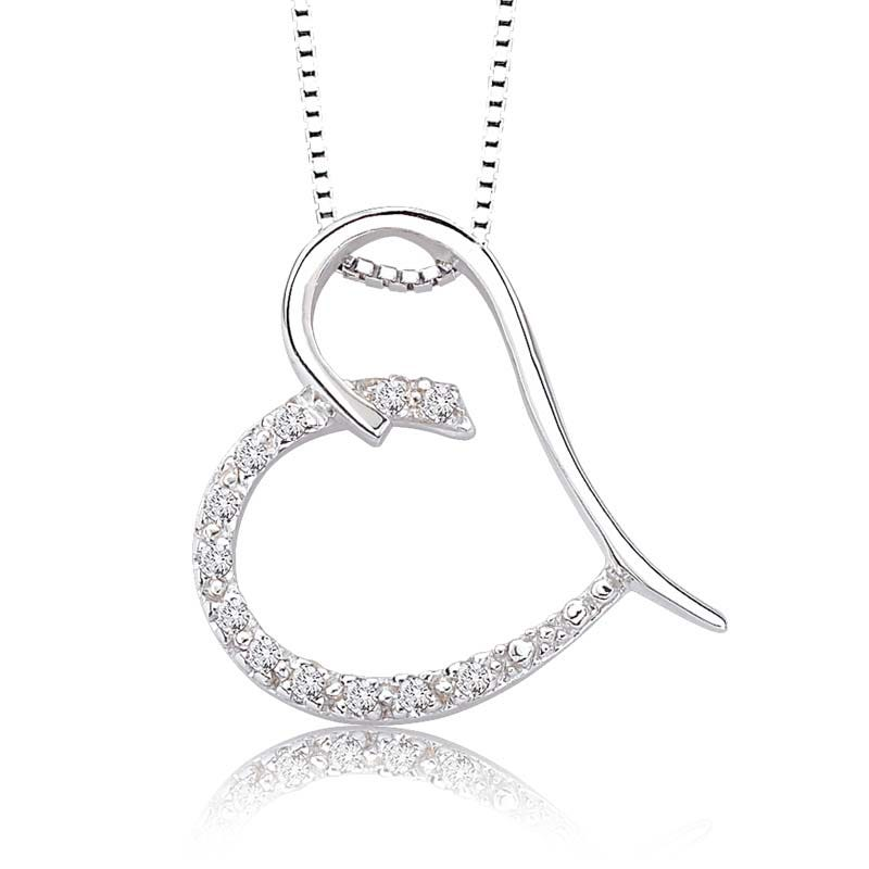 Diamond Heart Pendant Sterling Silver