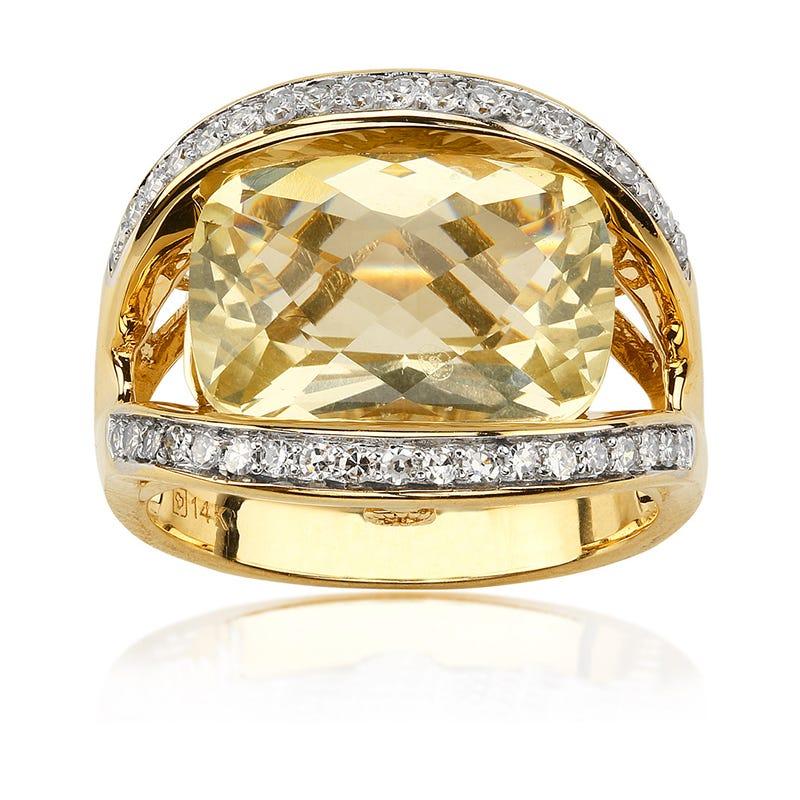 JK Crown® Yellow Lima Quartz & Diamond Ring in 14k Gold