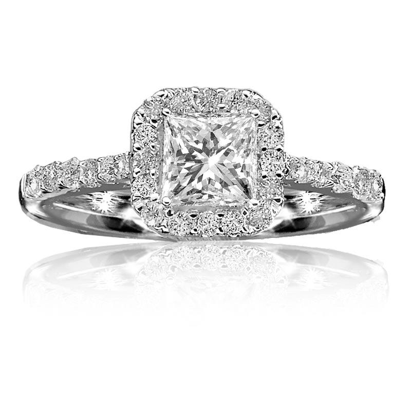 Lucina. Diamond Princess-Cut Pavé Halo 14K White Gold Engagement Ring