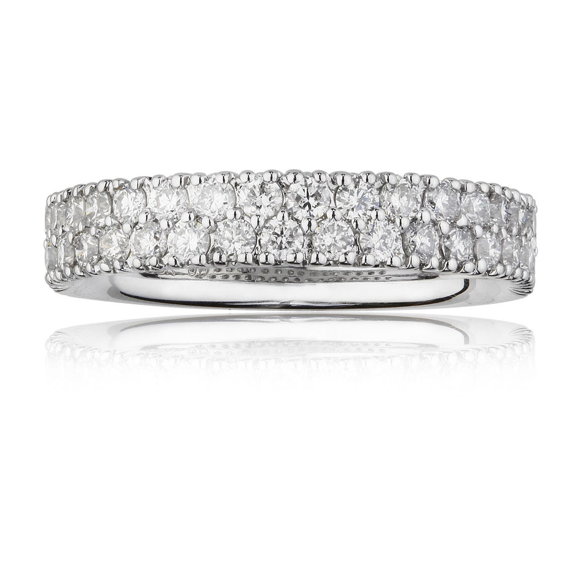 Diamond 2-Row Anniversary Band in 18k White Gold