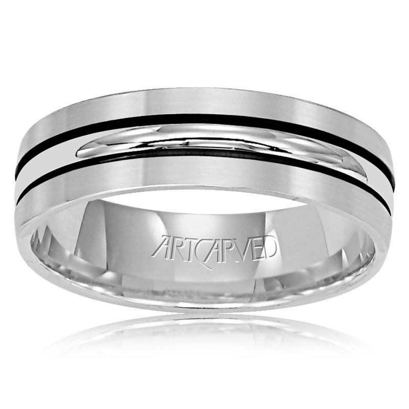 ArtCarved Men's Black Lined 14k White Gold Satin Edge Wedding Band