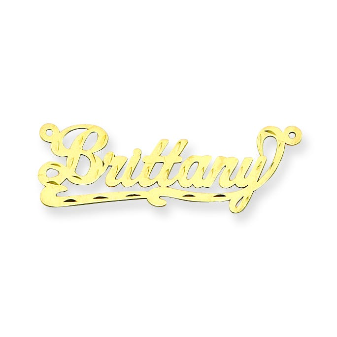 Diamond-Cut Name Plate Pendant in 14k Yellow Gold (up to 9 letters)