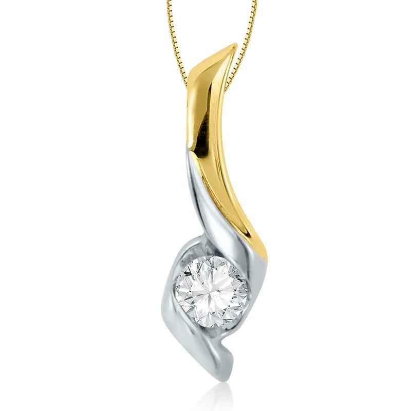 Sirena Diamond 1/2ct. Solitaire Pendant in 14k White & Yellow Gold