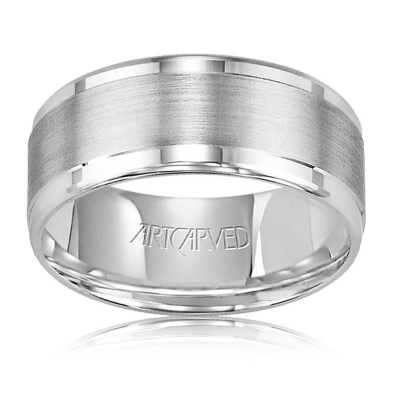ArtCarved Men's White Gold Bright Edge Wedding Band