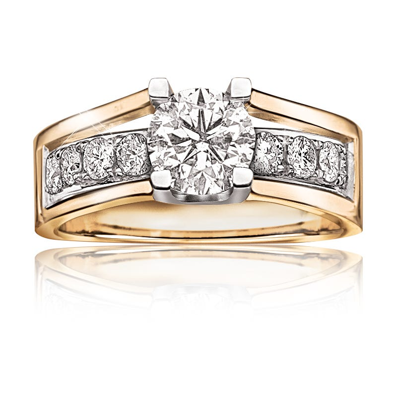 London. Canadian 1-5/8ctw. Diamond Engagement Ring 14k Yellow Gold