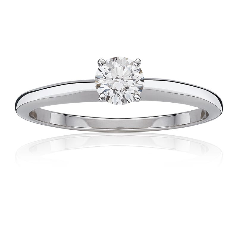 Lab Grown 3/4ct. Diamond Best Classic Round Solitaire Engagement Ring in 14k White Gold