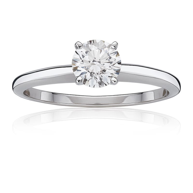 Lab Grown 7/8ct. Diamond Classic Round Solitaire Engagement Ring in 14k White Gold