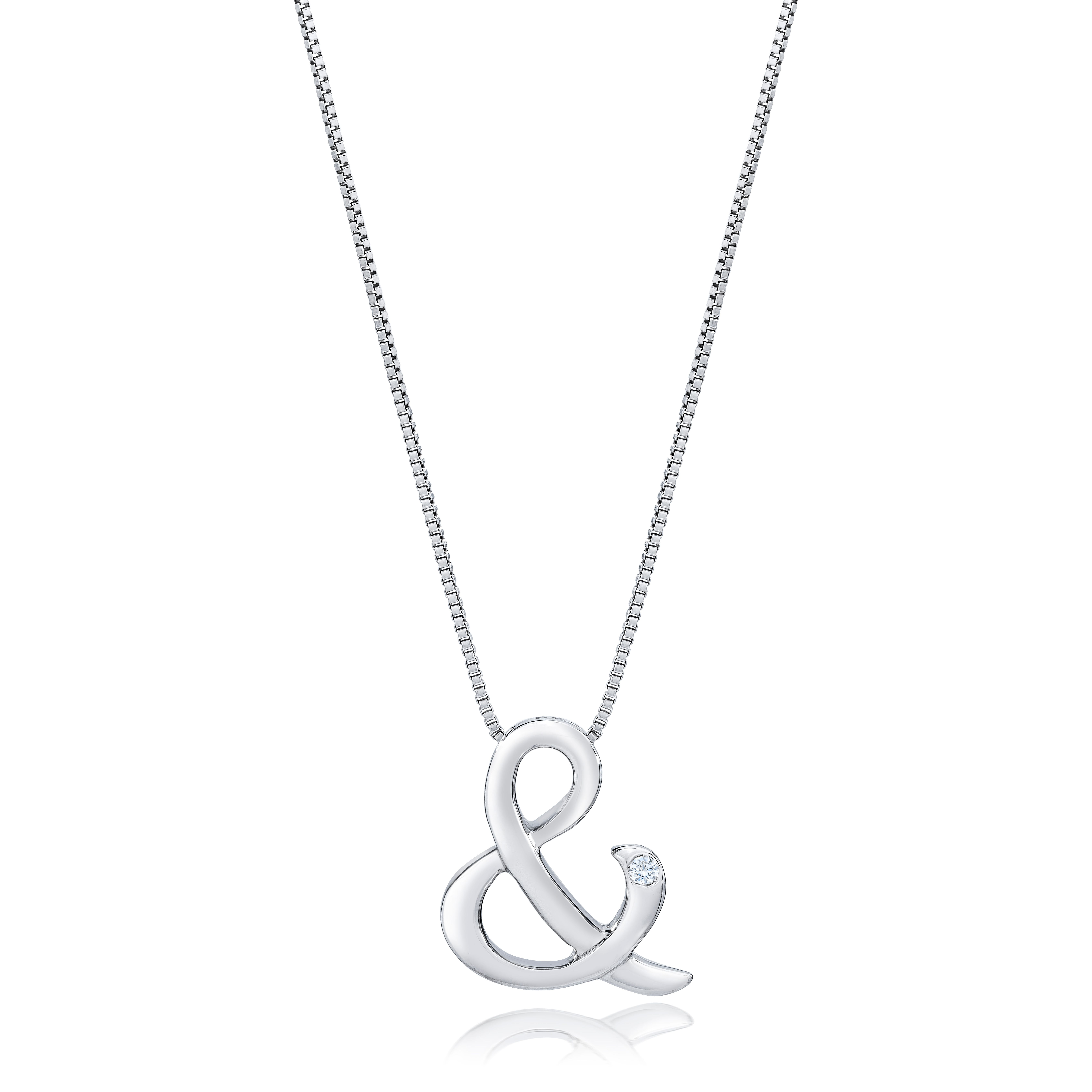 Signature Diamond Ampersand Necklace in Sterling Silver