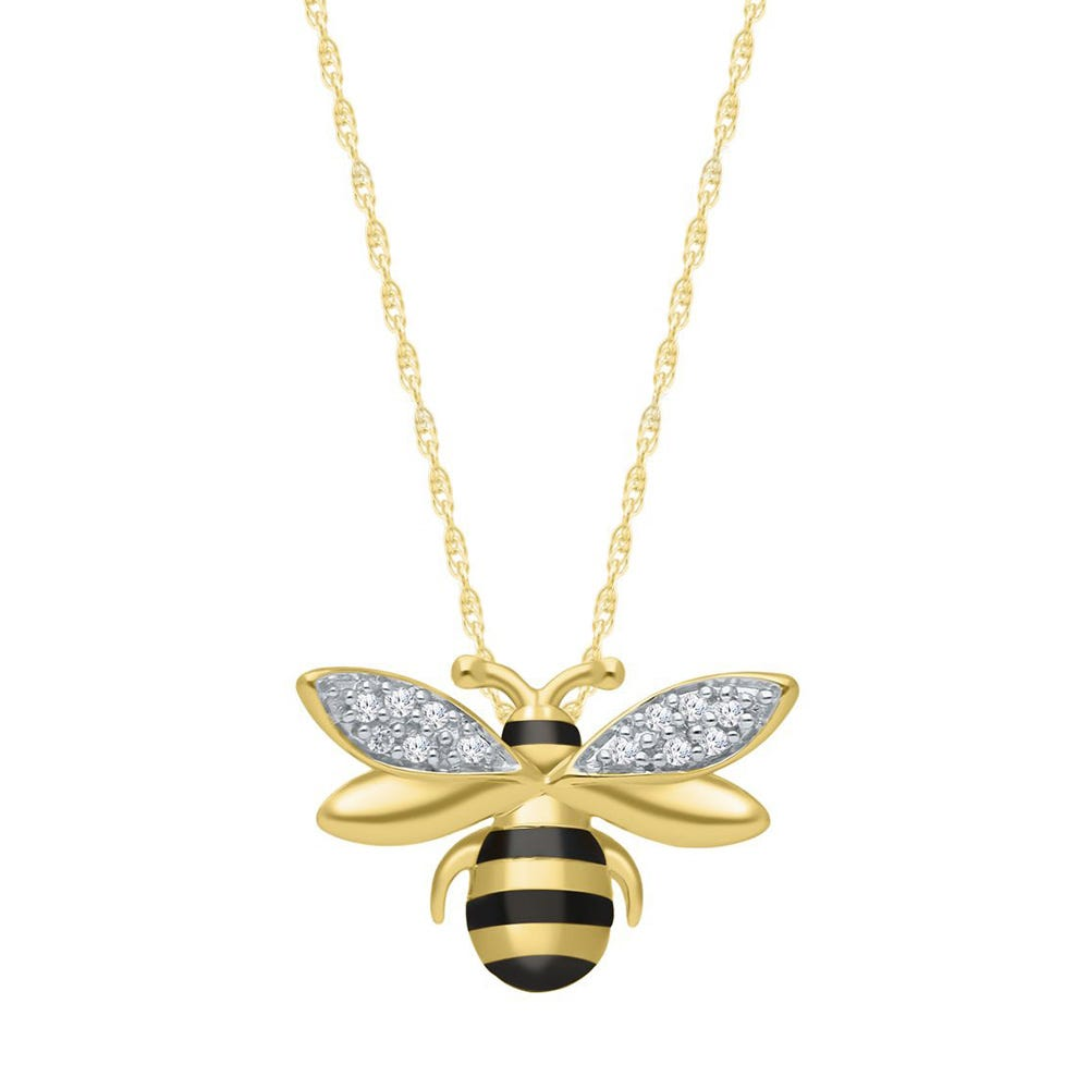 Diamond Bumble Bee Pendant in Yellow Gold Plated Sterling Silver