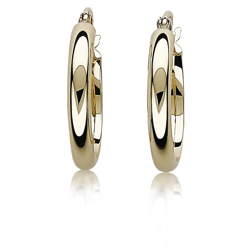 Polished Petite 14k Yellow Gold Hoop Earrings