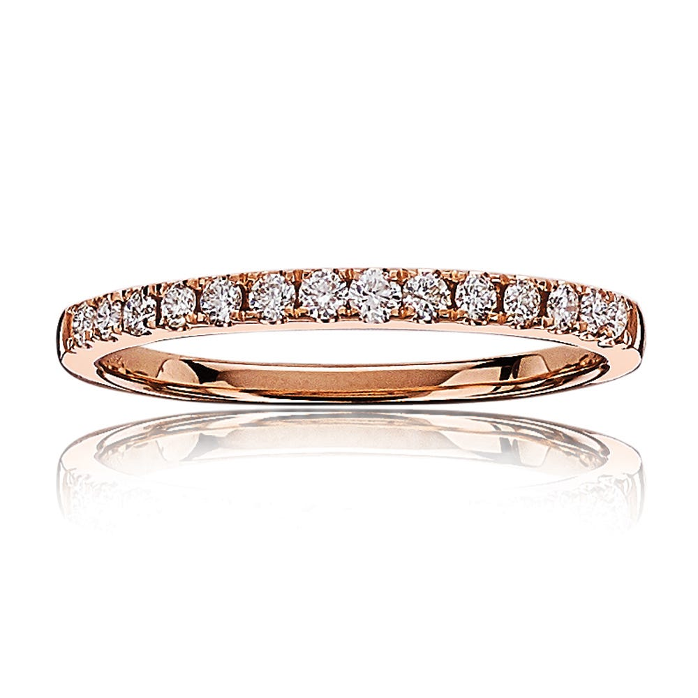 Diamond Ladies Pave Wedding Band in 14k Rose Gold