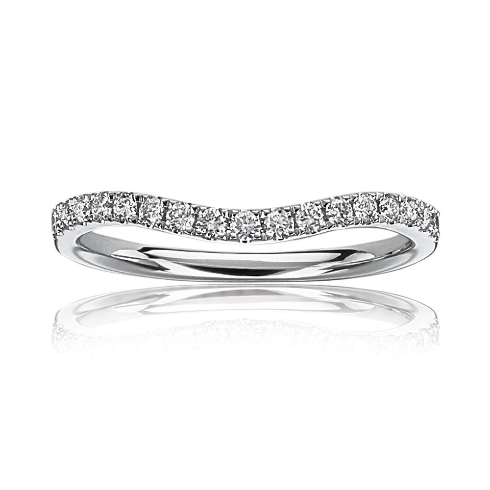 Curved Contour Diamond Band 1/3ctw. in 14k White Gold