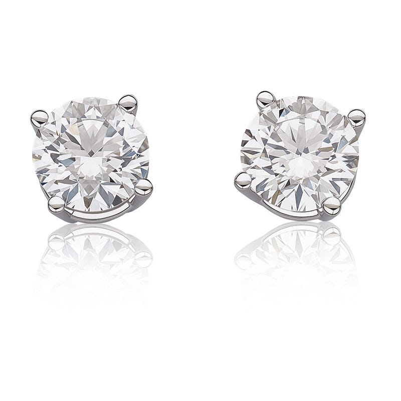 Lab Grown Diamond 3ctw. Classic Round Solitaire White Gold Stud Earrings