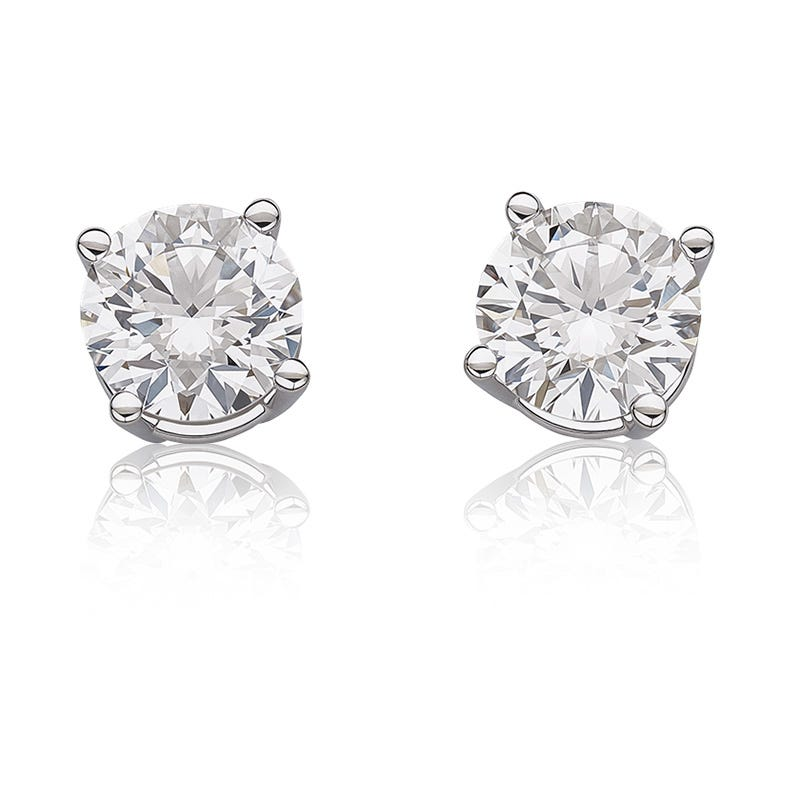 Lab-Crafted Solitaire Diamond 2-1/2ctw. Classic Round Stud Earrings