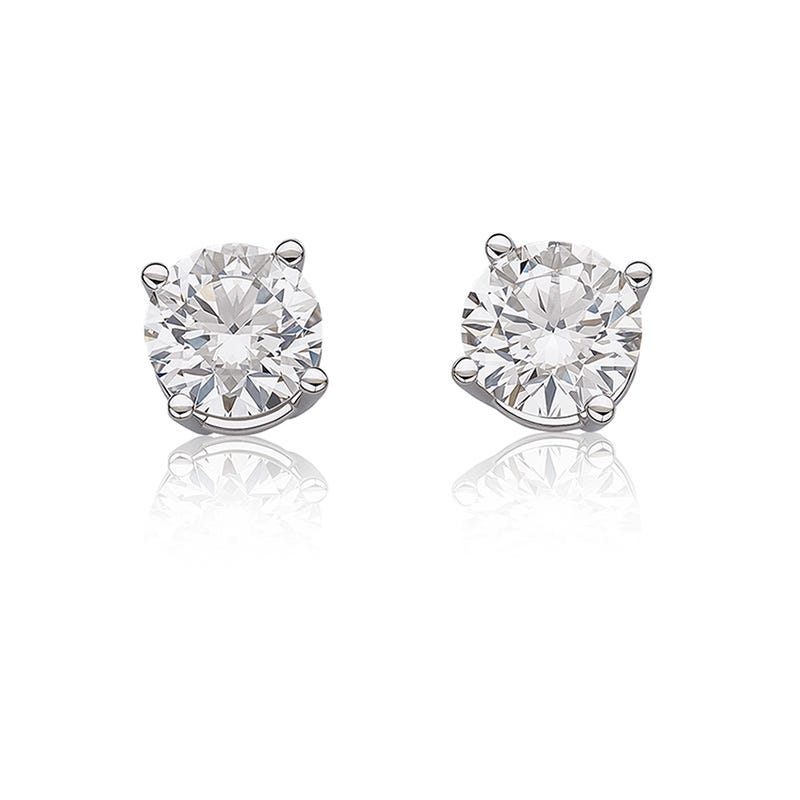 Lab Grown Diamond 2ctw Best Clic Round Solitaire White Gold Stud Earrings