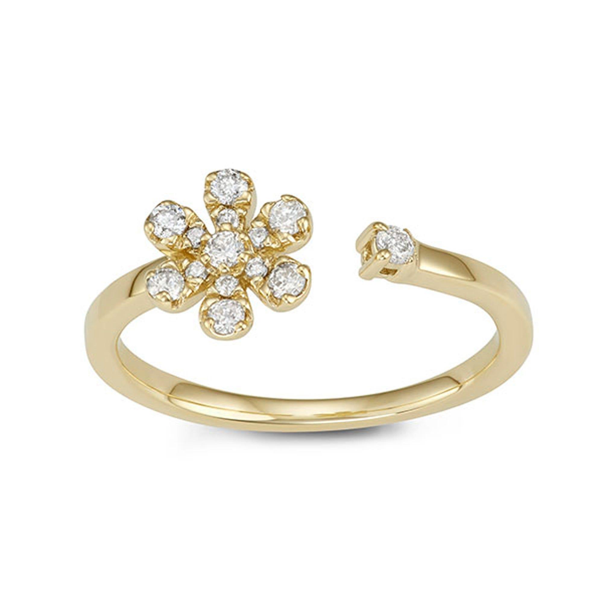 Open-Wrap Daisy Diamond Ring in 14k Yellow Gold