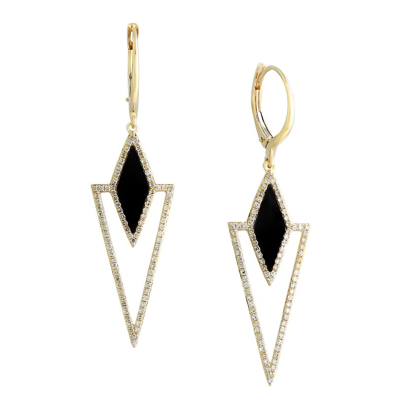 EFFY Onyx & Diamond 14k Yellow Gold Dangle Earrings