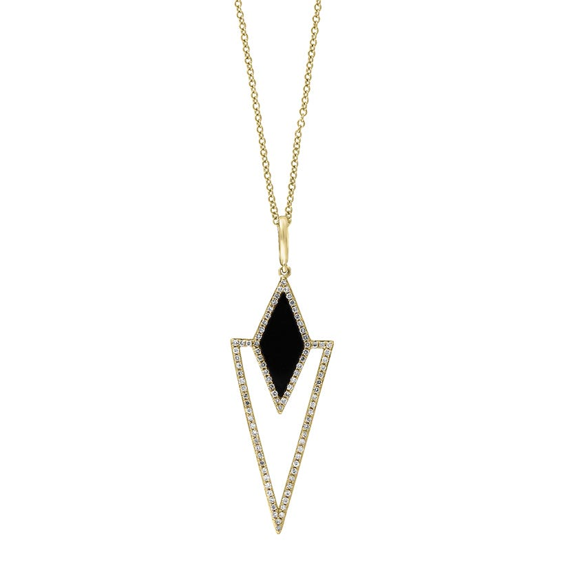 EFFY Onyx & Diamond Drop Necklace in 14k Yellow Gold
