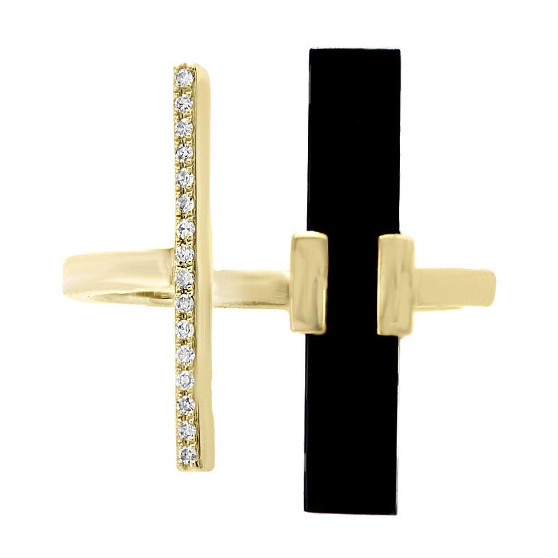 EFFY Onyx & Diamond Open Ring in Yellow Gold