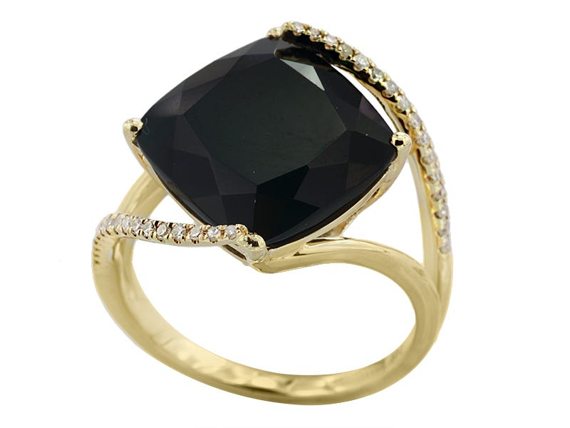 EFFY Onyx & Diamond Cushion Ring in 14k Yellow Gold