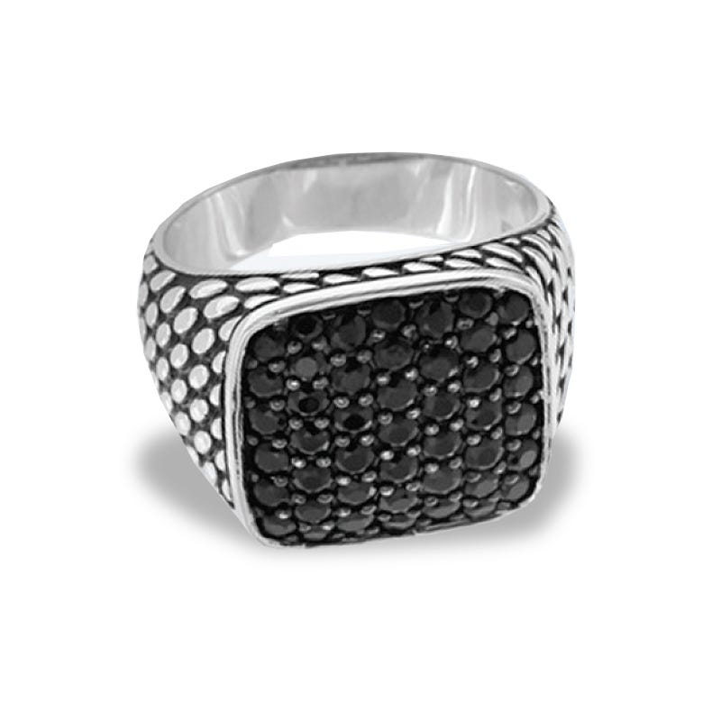 EFFY Men's Black Spinel Ring in Sterling Silver