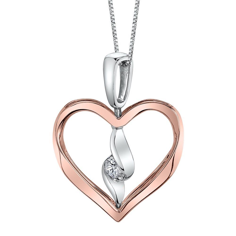 Sirena Twist Interchangeable Heart White & Rose Gold Diamond Pendant
