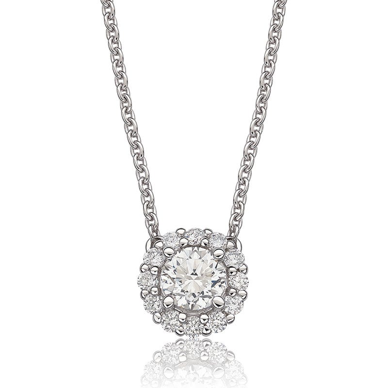 Lab-Crafted Diamond 5/8ctw. Round Halo Pendant in 14k White Gold