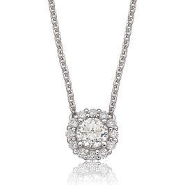 Lab Grown Diamond 5/8ctw. Round Halo Pendant in 14k White Gold