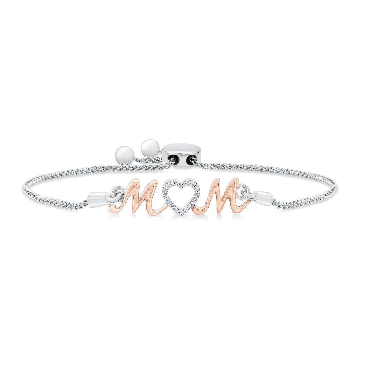 Mom Diamond Bolo Bracelet 1/20ctw