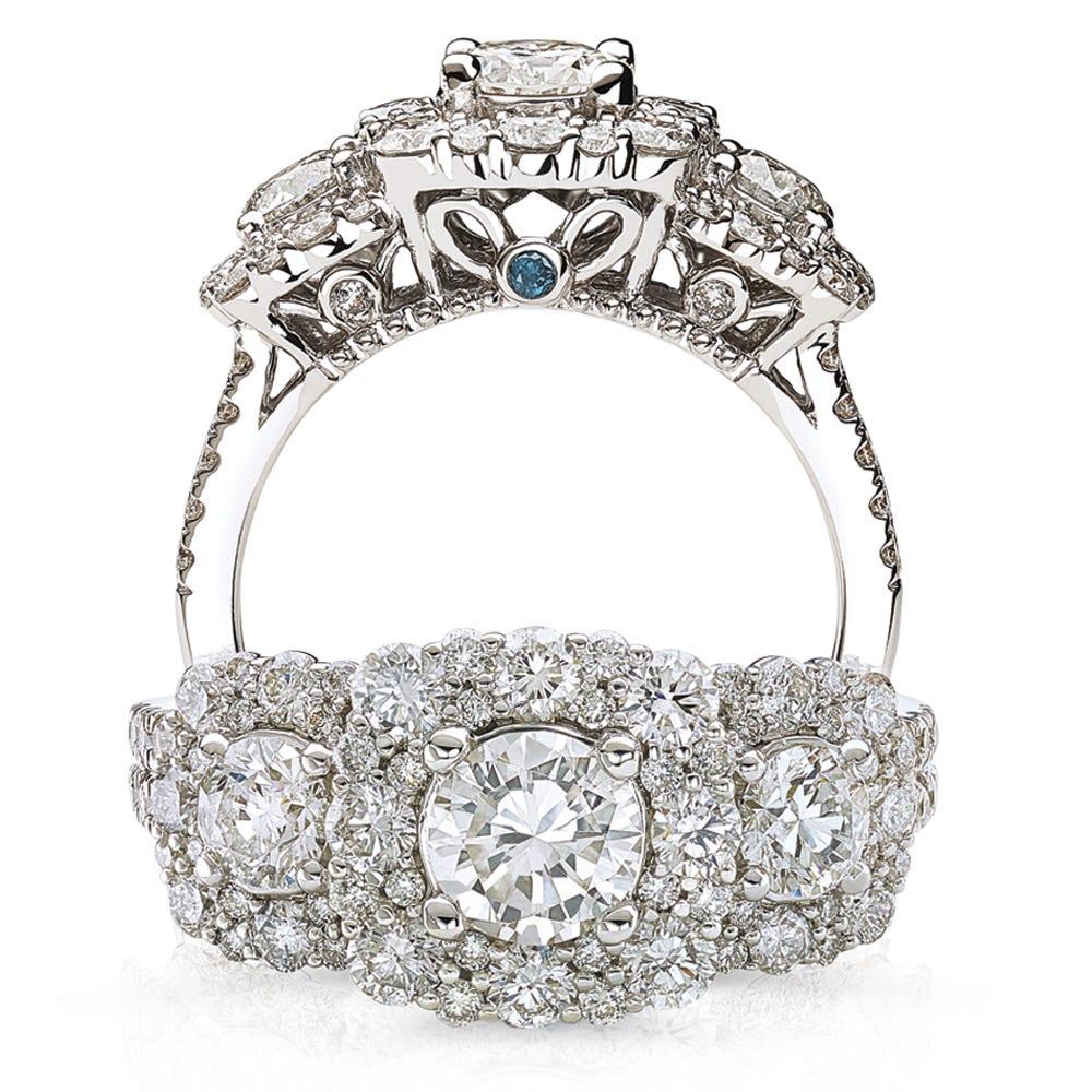Victoria. JK Crown® Three-Stone 2ctw. Halo Diamond Engagement Ring