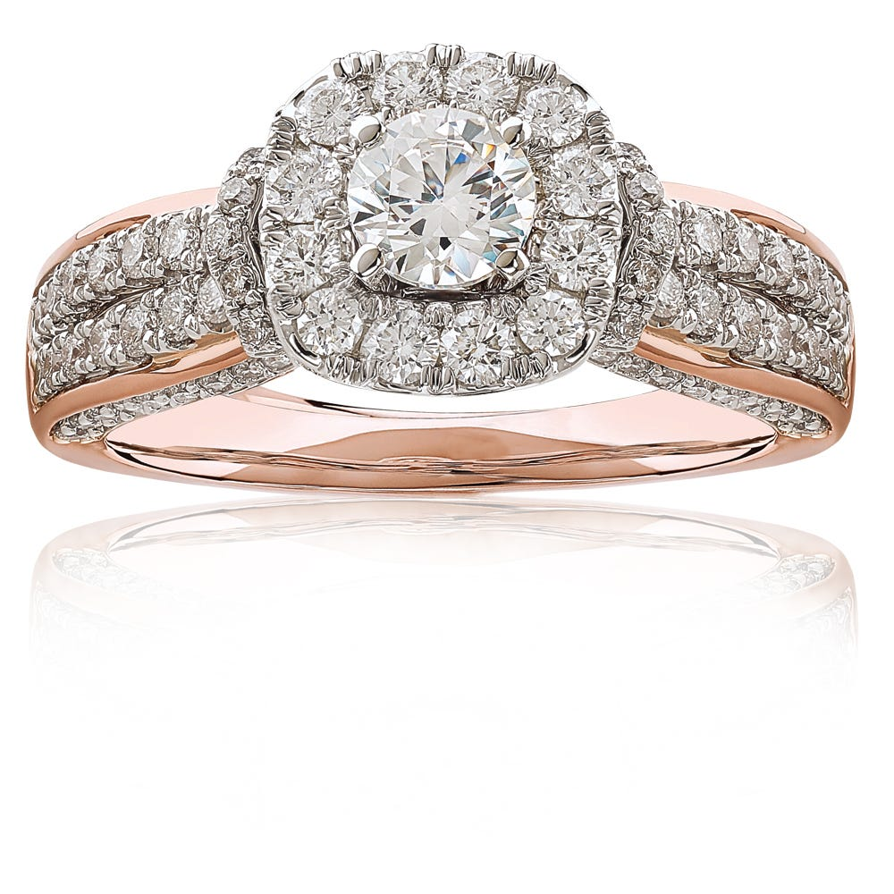 Matilda. JK Crown® Diamond 1+ctw. Halo Engagement Ring in 14k Rose Gold