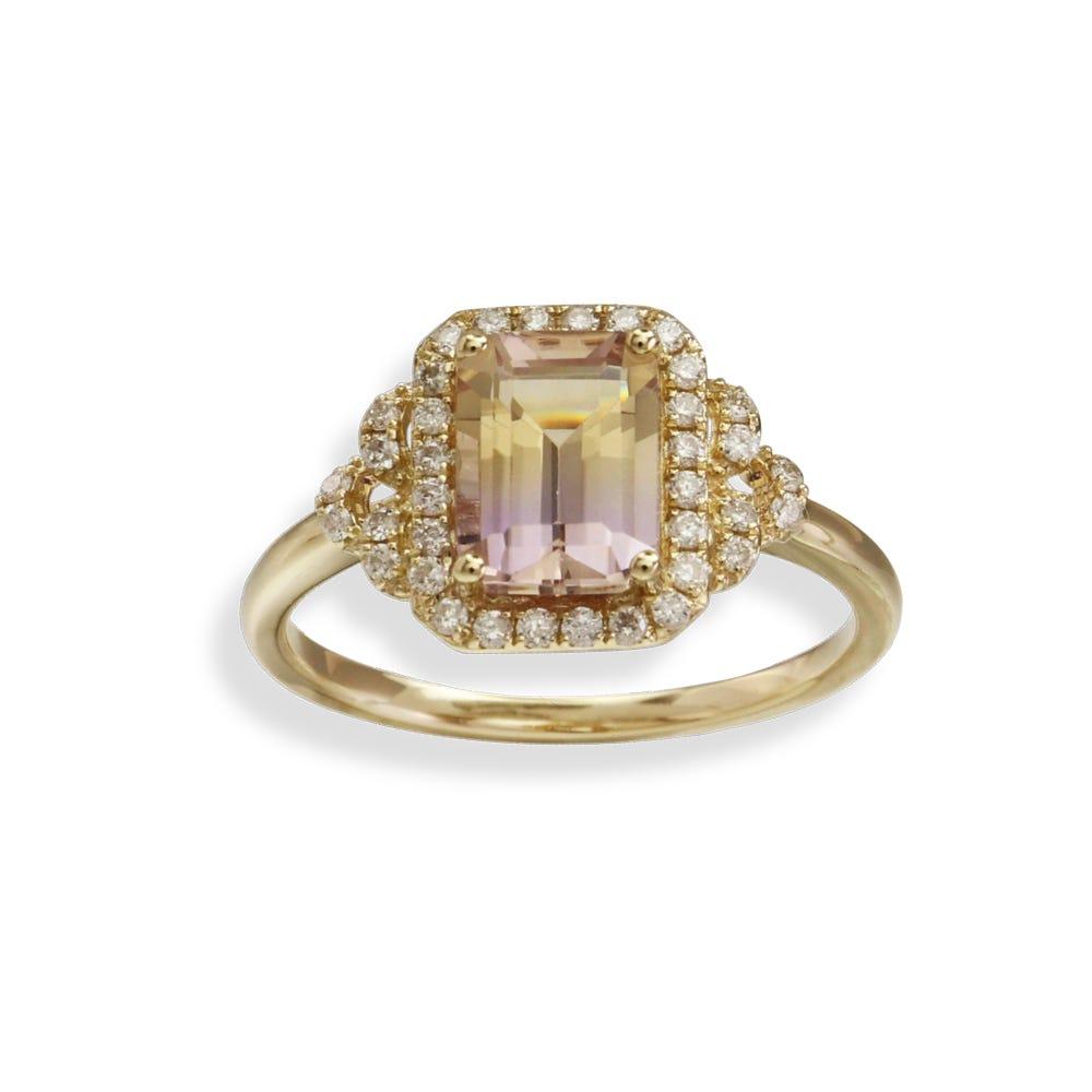 JK Crown Octagon Ametrine & Diamond Ring in 14k Yellow Gold