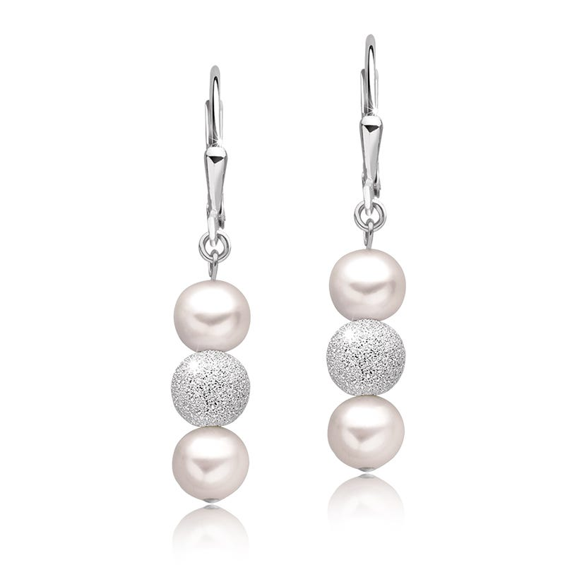 Freshwater Pearl & Sparkle Beads Dangle Earrings in Sterling Silver
