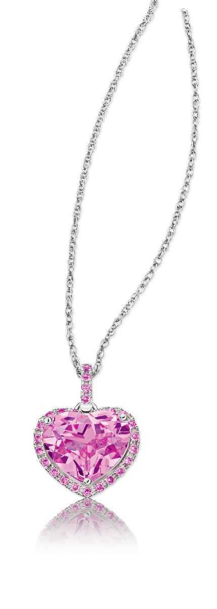 Created Pink Sapphire Halo Heart Pendant in Sterling Silver
