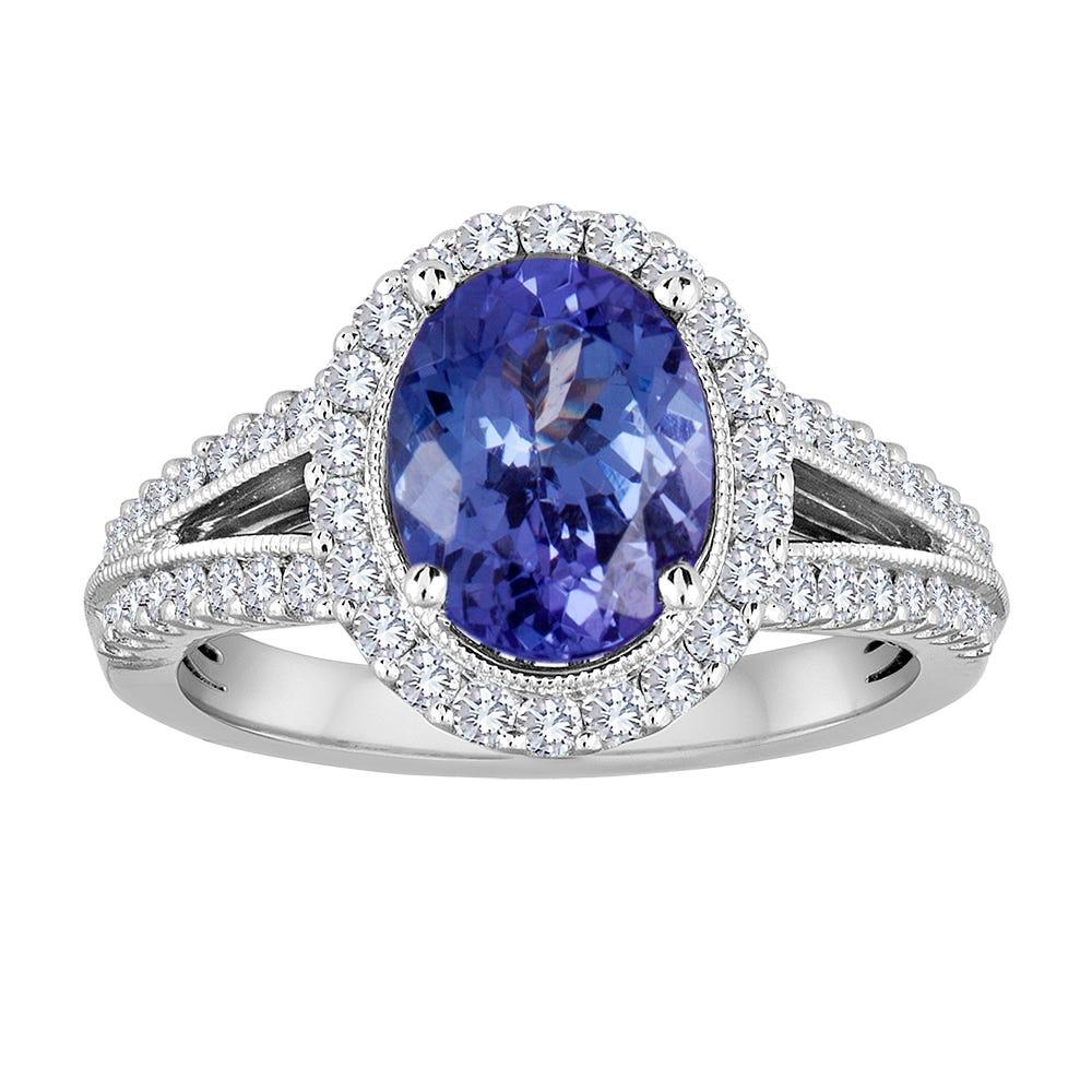 Tanzanite Oval & Diamond Halo Ring in 14k White Gold