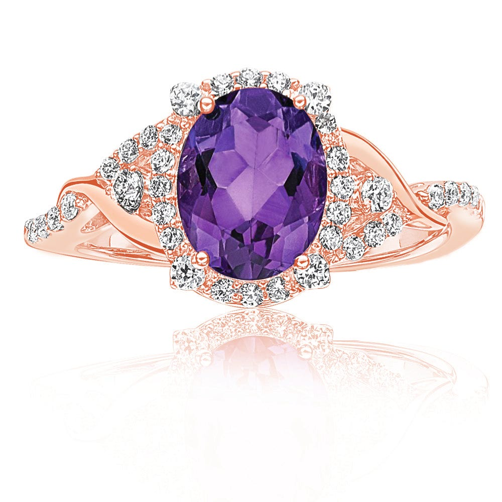 Oval Amethyst & Diamond Halo Fashion Ring in 10k Rose Gold