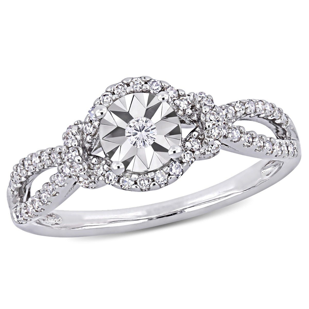 Diamond Crossover Engagement Ring 1/3ctw in Sterling Silver