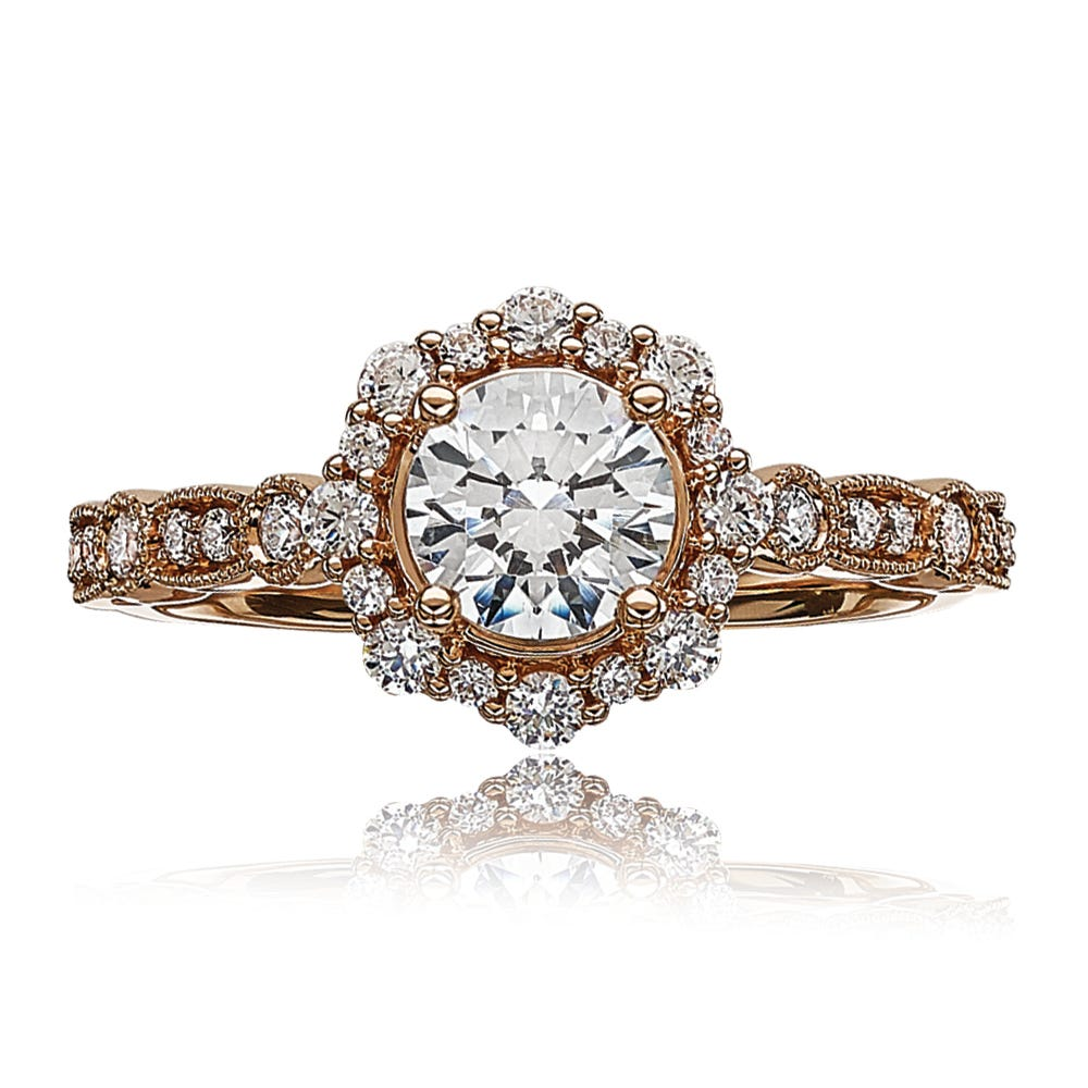 Lab-Crafted Diamond Halo Engagement Ring in 14k Rose Gold